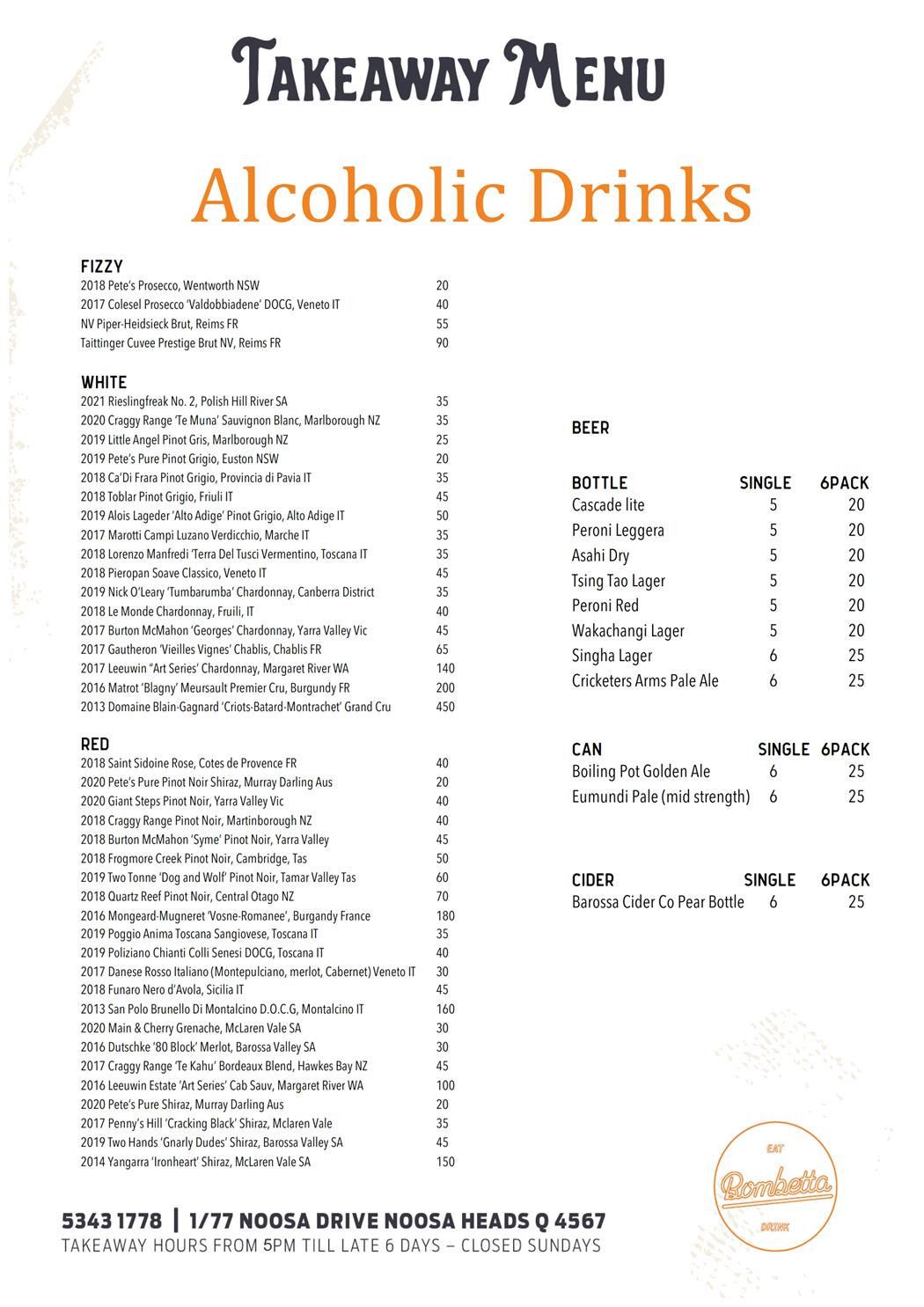 Takeaway Drinks Menu 2021 08 07